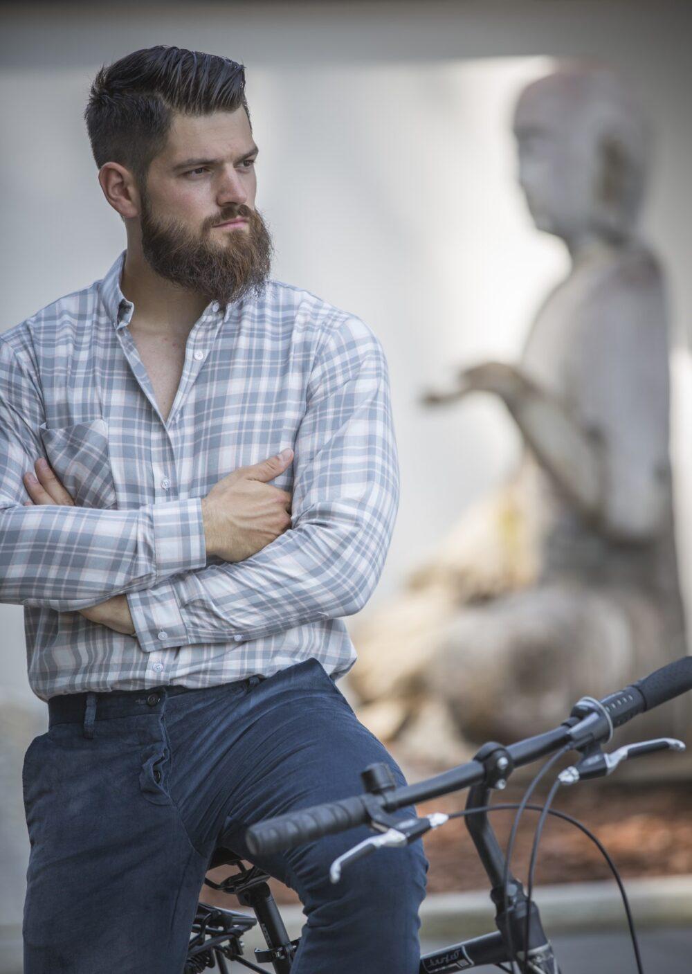 Kariertes Herrenhemd aus Biobaumwolle