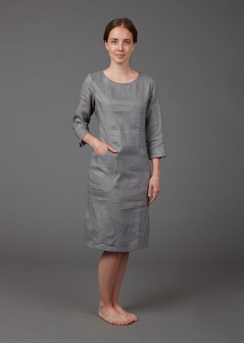 Elegantes Sommerkleid aus Bio-Leinen und Baumwolle